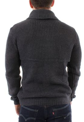 Solid Pullover Men KNIT REINHARD Dark Grey – Bild 1
