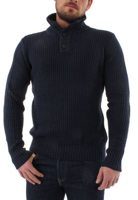 Solid Pullover Men KNIT RIVER Insigna Blue – Bild 0
