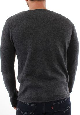 Solid Pullover Men KNIT REKKER Dark Grey – Bild 1