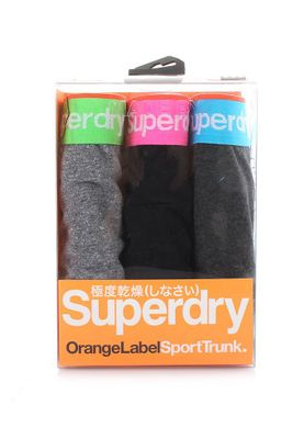 Superdry Triple Pack Boxershorts Men ORANGE LABEL SPORT TRUNK Black Fleck Black Oil