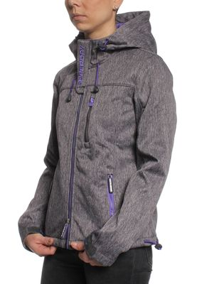 Superdry Softshelljacke Women HOODED WINDTREKKER Dark Grey Grit Fluro Purple – Bild 1