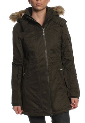 Superdry Mantel Women MICROFIBRE TALL PARKA Army Blonde Fur – Bild 0