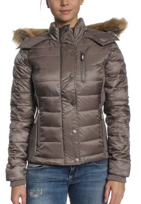 Superdry Steppjacke Women LUXE FUJI DOUBLE ZIP HOOD Shimmer Grey – Bild 0