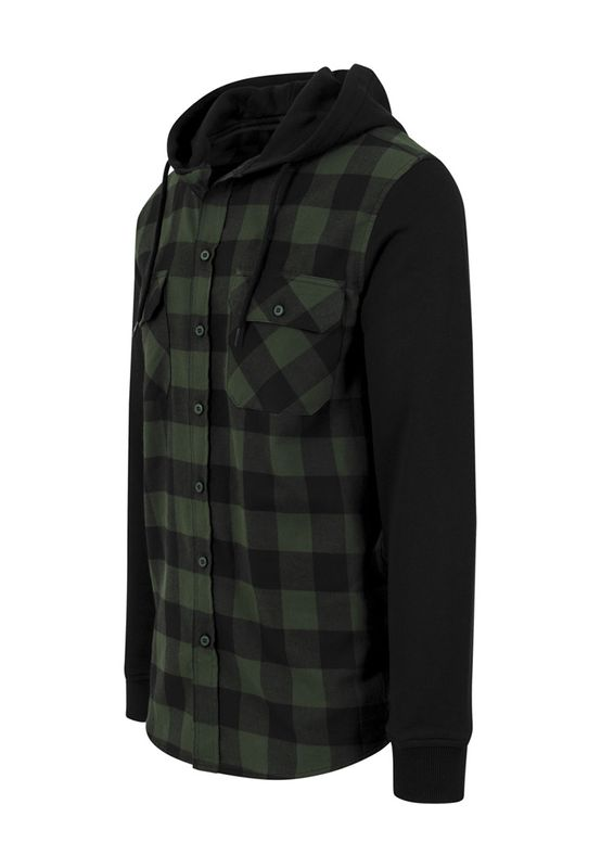 Urban Classics Hooded Checked Flanell Sweat Sleeve Shirt TB513 Black Forest Black – Bild 1