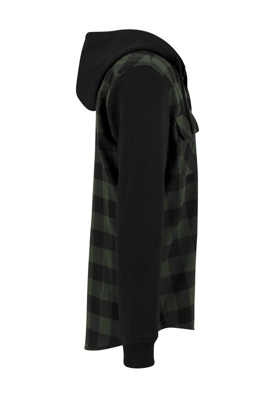 Urban Classics Hooded Checked Flanell Sweat Sleeve Shirt TB513 Black Forest Black – Bild 2