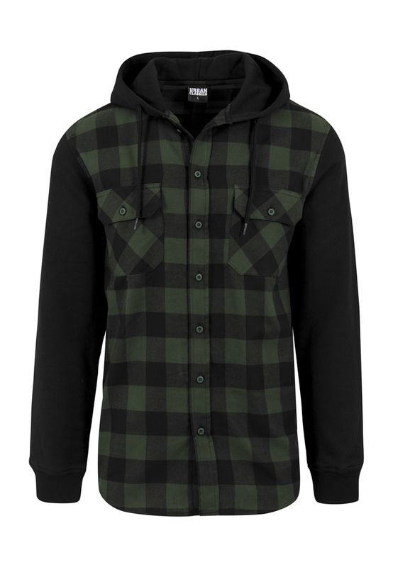 Urban Classics Hooded Checked Flanell Sweat Sleeve Shirt TB513 Black Forest Black – Bild 0