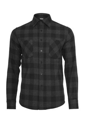 Urban Classics Checked Flanell Shirt TB297 Black Charcoal – Bild 0