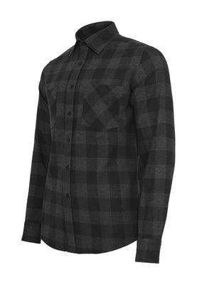 Urban Classics Checked Flanell Shirt TB297 Black Charcoal – Bild 1