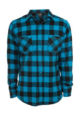 Urban Classics Checked Flanell Shirt TB297 Black Turquoise – Bild 0
