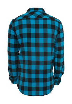 Urban Classics Checked Flanell Shirt TB297 Black Turquoise – Bild 1