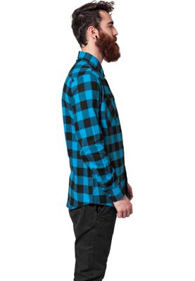 Urban Classics Checked Flanell Shirt TB297 Black Turquoise – Bild 3