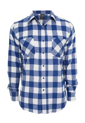 Urban Classics Checked Flanell Shirt TB297 White Royal – Bild 0