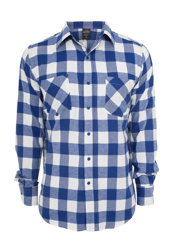Urban Classics Checked Flanell Shirt TB297 White Royal Ansicht