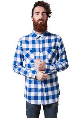 Urban Classics Checked Flanell Shirt TB297 White Royal – Bild 2