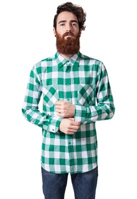 Urban Classics Checked Flanell Shirt TB297 White Green – Bild 2