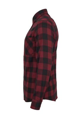 Urban Classics Checked Flanell Shirt TB297 Black Burgundy – Bild 3