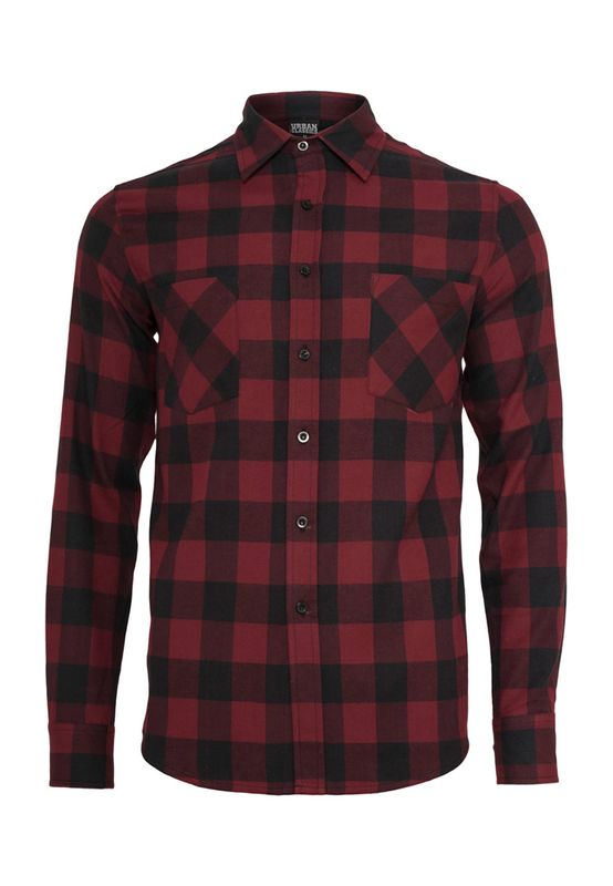 Urban Classics Checked Flanell Shirt TB297 Black Burgundy Ansicht