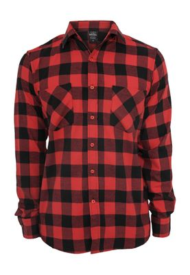 Urban Classics Checked Flanell Shirt TB297 Black Red – Bild 0