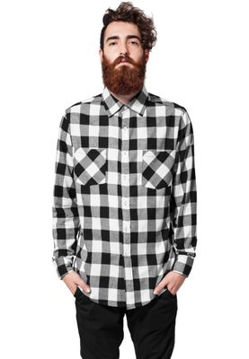 Urban Classics Checked Flanell Shirt TB297 Black White – Bild 2