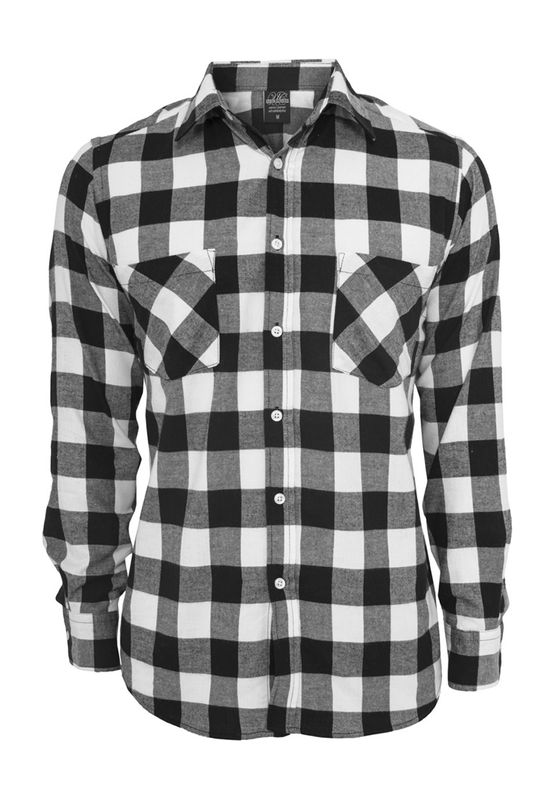 Urban Classics Checked Flanell Shirt TB297 Black White Ansicht