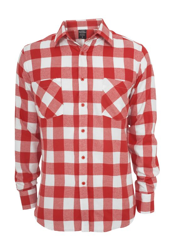 Urban Classics Checked Flanell Shirt TB297 White Red Ansicht