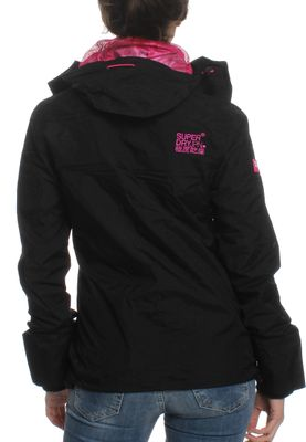 Superdry Jacke Women TECH HOODED POP ZIP WINDCHEATER Black Lurex Punk Pink – Bild 1