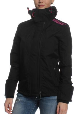 Superdry Jacke Women TECH HOODED POP ZIP WINDCHEATER Black Lurex Punk Pink – Bild 2