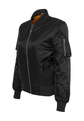Urban Classics Ladies Basic Bomber Jacket TB807 Black – Bild 1