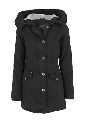 Urban Classics Ladies Garment Washed Long Parka TB1088 Black – Bild 0
