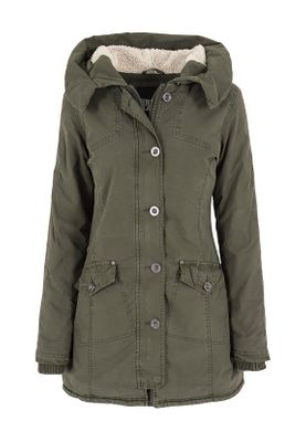 Urban Classics Ladies Garment Washed Long Parka TB1088 Olive