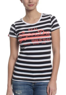 Superdry T-Shirt Women VINTAGE LOGO STRIPE Navy Stripe – Bild 0