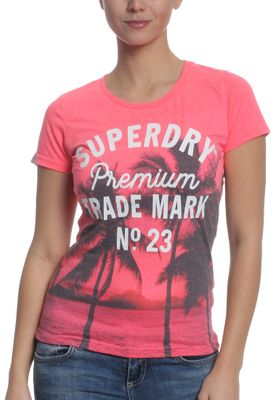 Superdry T-Shirt Women PHOTOGRAPHIC ENTRY Pink Neon Marl – Bild 0