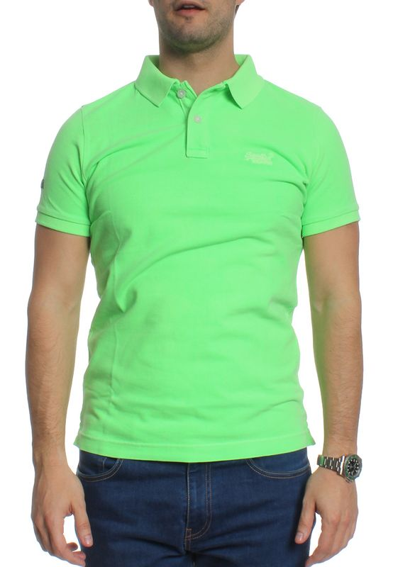 Superdry Polo Men VINTAGE DESTROY SS PIQUE POLO Lime Green – Bild 1