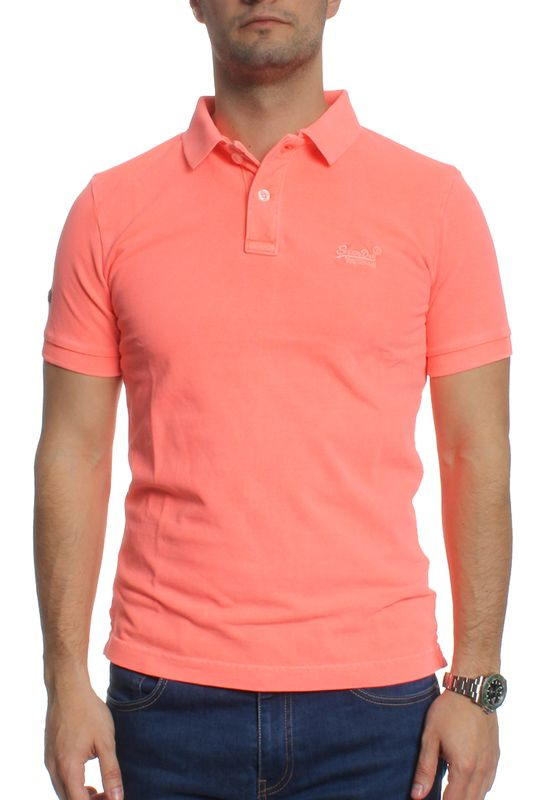 Superdry Polo Men VINTAGE DESTROY SS PIQUE POLO Fluro Coral – Bild 0