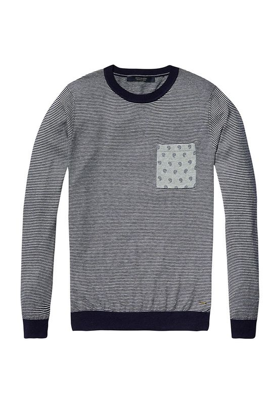 Scotch & Soda Pullover Men CHEST POCKET 136571 Blau Weiß 0217
