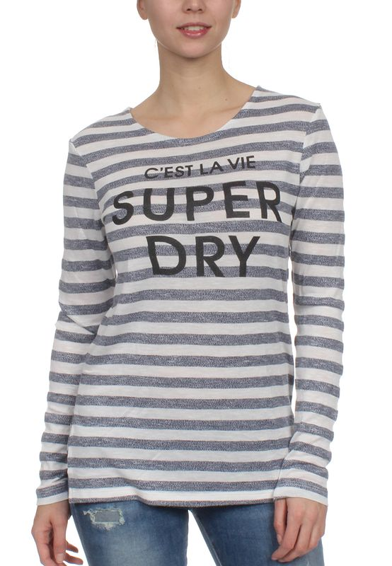 Superdry Longsleeve Women NAUTICAL STEP HEM Black Ecru Twist Stripe – Bild 0