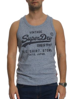 Superdry Tank Men SHIRT SHOP VEST Flint Blue Grit – Bild 0