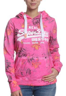 Superdry Sweater Women VINTAGE LOGO TROPIC AOP LITE Optic Overdyed Fluro Pink – Bild 0