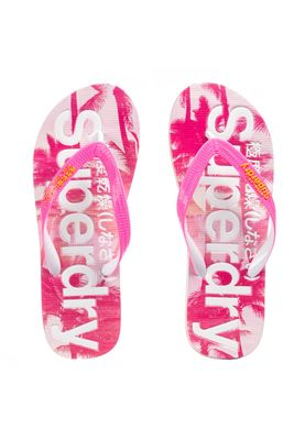 Superdry Zehentrenner Women SUPERDRY AOP Fluro Pink Cyber Yellow Pink Palm Print