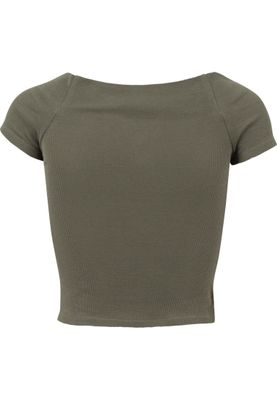 Urban Classics Ladies Off Shoulder Rib Tee TB1500 Olive – Bild 1