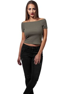 Urban Classics Ladies Off Shoulder Rib Tee TB1500 Olive – Bild 3