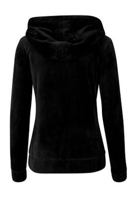 Urban Classics Ladies Velvet Zip Hoody TB1514 Black – Bild 1