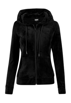 Urban Classics Ladies Velvet Zip Hoody TB1514 Black – Bild 0