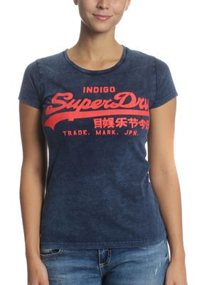 Superdry T-Shirt Women VINTAGE LOGO INDIGO ENTRY Acid Indigo – Bild 0