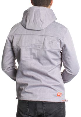 Superdry Softshelljacke Men HOODED EMBOSS WINDTREKKER Light Grey Grit Tangerine – Bild 2