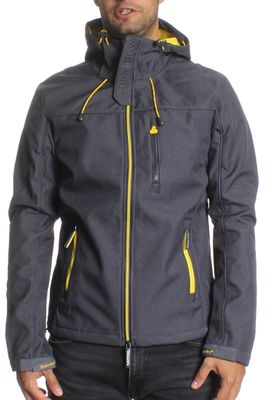 Superdry Softshelljacke Men HOODED EMBOSS WINDTREKKER Dark Grey Marl Flash Yellow – Bild 0