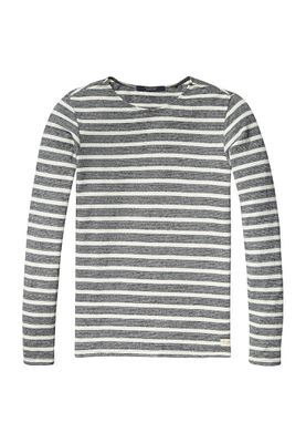 Scotch & Soda Pullover 136418 Grau Beige gestreift 0218