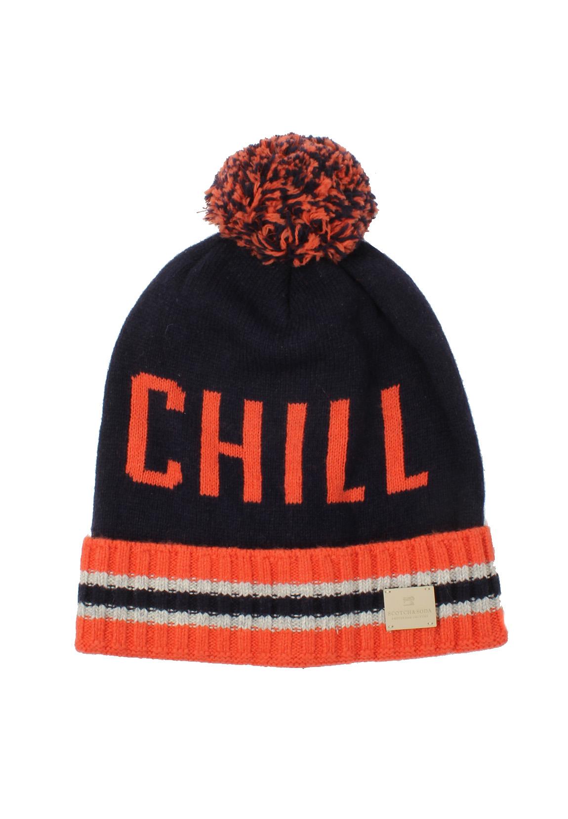 978001a3b8604 Scotch   Soda Pompom Hat 101823 Orange Navy 2C 8719031301193