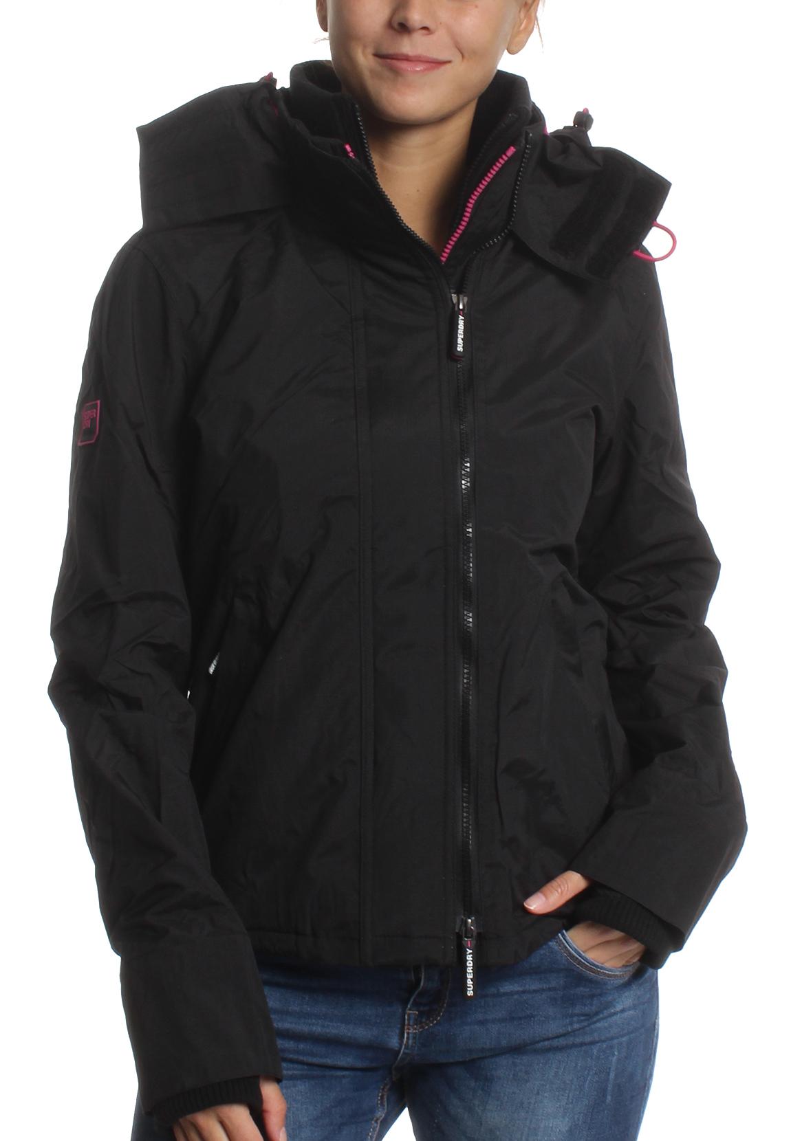 superdry jacke damen pop zip hood arctic windcheater black. Black Bedroom Furniture Sets. Home Design Ideas