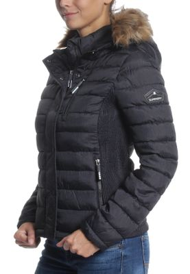 Superdry Jacke Damen FUJI SLIM DOUBLE ZIP HOOD Black Marl – Bild 3
